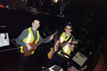 Jamie Clark and Jonathan in pit for Out of the Box Production 2001